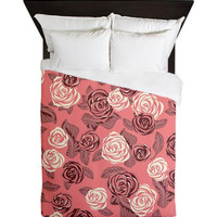Queen Duvet Cover - Bright Pink Roses - Ornaart Design