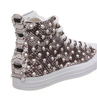 Studded Converse, Python Converse with silver cone rivet studs by CUSTOMDUO on ETSY
