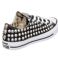 Studded Converse, Converse low top with Silver Conical Rivets studs CUSTOMDUO