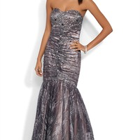 Strapless Long Prom Dress with Glitter Bodice and Godet Skirt