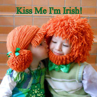 2 Leprechaun Wigs Saint Patricks Day Hats Irish Wig Beard hat Cabbage Patch Hat