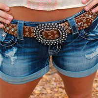 Miss Me Rhinestone Studded Belt- Brown