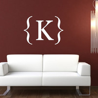 Wall Decal Personalized Monogram Modern Style with Brackets Vinyl Lettering 22384