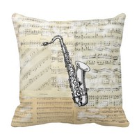 Vintage Saxophone Music Pillow
