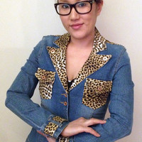 Custom Leopard Print Denim Jacket. FREE SHIPPING.