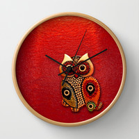 Cute Retro beads Owl Decorative Circle Wall Clock Watch by Three Second