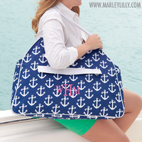 Monogrammed Navy Anchors Beach Bag | Custom Beach Gifts | Marley Lilly