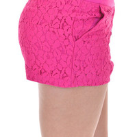 Closet Candy Boutique · Confessions Of A Lace-a-holic Shorts - Fuchsia