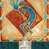 Southwestern Decor Kokopelli Night Light Southwest Wall Kitchen Desert Art Western Stained Glass Decorative Nightlight