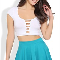 Short Sleeve Crop Top with Ladder Front