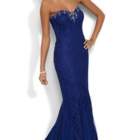 Glitter Lace Strapless Long Prom Dress with Stone Neckline
