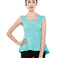 Papaya Clothing Online :: NECKLACE PEPLUM DRESSY TOP