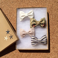 Cream lace, textured floral, navy pinstripe, and winter white Seaside Sparrow hair bow lot. Brandy Melville inspired colors. Perfect gift.