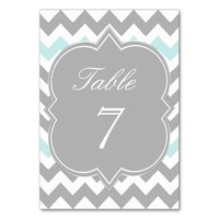 Gray Aqua Chevron Table Number Card