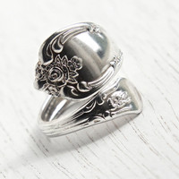 Vintage Spoon Ring - Adjustable Silver Plated Signed WMA Rogers Oneida Ltd. Retro Bypass Flatware Vanessa Magnolia Costume Jewelry