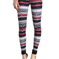 KNIT COTTON TRIBAL PRINT LEGGINGS