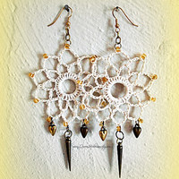 Romantic Bohemian Crochet Earrings, Hippie, Bridal, Wedding, Beach, Ready to Ship