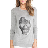 Haute Hippie Skull Pullover Sweater in Light Heather Grey from REVOLVEclothing.com