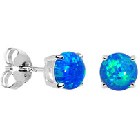 6mm Blue Round Sterling Silver Synthetic Opal Stud Earrings | Body Candy Body Jewelry