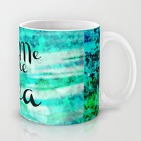 TAKE ME TO THE SEA - Typography Teal Turquoise Blue Green Underwater Adventure Ocean Waves Bubbles Mug by EbiEmporium