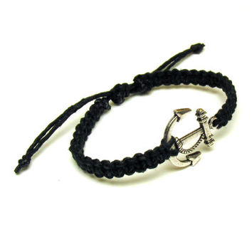 Anchor Hemp Bracelet, Black Macrame Jewelry, Nautical Adjustable Bracelet - Ready to Ship