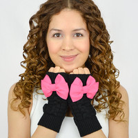 Black Fingerless Mittens knit gloves hot pink grosgrain bow gloves knitted bow knit fingerless gloves black arm warmers black women gloves