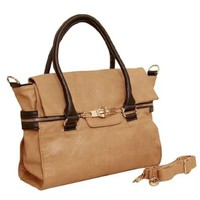 Contrast Color Casual Purse Tote Hand Bag with Shoulder Strap