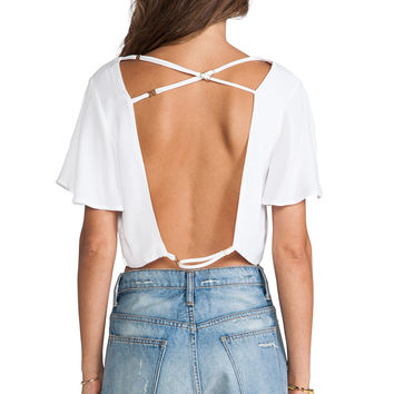 For Love & Lemons Pepe Crop Top in White