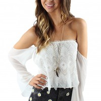 Crochet Off-The-Shoulder White Top