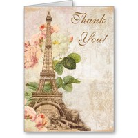 Paris Pink Rose Vintage Romantic Thank You Card