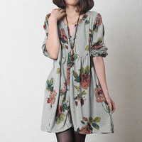 Grey Floral Rretro England Loose Fitting dress Cotton blouse Women V Neck Spring Dress Long Sleeve Clothing Single Line Buttons