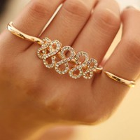 Diamond Charm Cross Finger Cuff Ring (Gold)