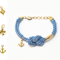 Blue bracelet with infinity knot and charm, anchor bracelet, infinity bracelet, knit bracelet