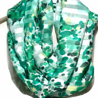 Green and white polka dot infinity scarf. Loop Scarf. Women Accessories.