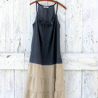 Upcycled boho sundress- slate gray and tan indie fashion- bohemian drop waist summer dress- eco fashion