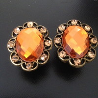 ORANGE rhinestone crystal gauges plugs earrings pair from Strick9Designs.storenvy.com