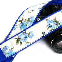 dSLR Camera Strap. Floral Camera Strap. White Blue Camera Strap. Women Accessories