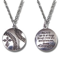 Baseball Pendant (Phil 4:13) Necklace
