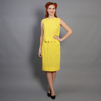 60s Bright YELLOW Dress SET / Cheerful Embroidered Cotton Top & Skirt Set, s