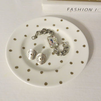 White with Gold Polka Dots Glass Dish Jewelry Makeup Accessory, Office Dish - Hand painted Fine China - glam home, vanity trendy decor
