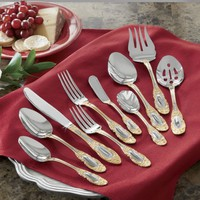 45-Piece Countess Gold-Accent Flatware Set