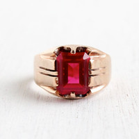 Antique 14k Rose Gold Ruby Ring - Vintage Size 9 1/2 1910 Edwardian Men's Fine Jewelry