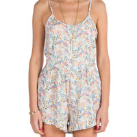 Ruffle Bottom Floral Romper - Purple