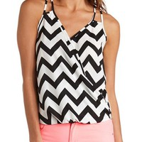 STRAPPY SURPLICE CHEVRON TANK TOP