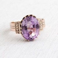 Antique Victorian 10k Rose Gold Rose de France Amethyst Ring - Size 7 1/4 1800s Large 4.5 Carats Purple Gemstone Ring