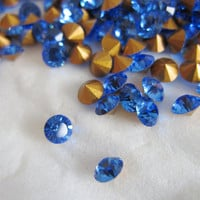 Swarovski Rhinestones Crystals Chaton 29pp SS15 PP 29 Sapphire Blue Round Point Back 3.7 mm Wholesale Lot 20 Jewelry Supplies