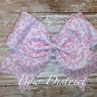 "3"" Pink Flower Cheer Bow"