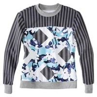 Peter Pilotto® for Target® Sweatshirt -Light Blue Floral/Stripe Print