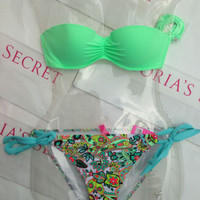 New Sexy Victoria's Secret Madi Bandeau Bikini Set Mix and Match 32D M Paisley