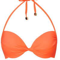 Flame Orange Basic Plunge Bikini Top